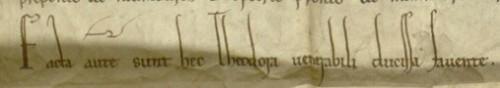 """Urk 1161-04-22.2<br /> Stiftbrief Heinrichs II. Jasomirgott (22. April 1161)<br /> """"Facta autem sunt hec Theodora venerabili ducissa favente"""""""