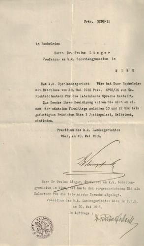 P. Paulus Lieger: Bestellung zum Gerichtsdolmetscher (1915).