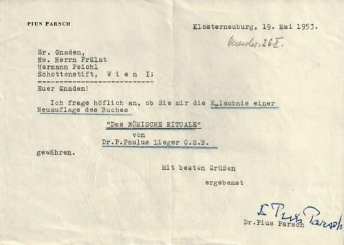 H. Pius Parsch an Abt Hermann Peichl (1953).