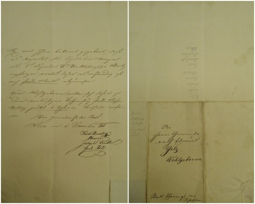 Bekanntgabe des Abreisetermins für die Gemeindedeputation nach Olmütz (1848).