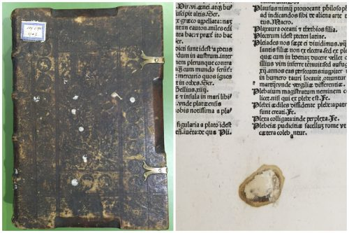 Links: Ink. 109c (Hübl 198): Weiße Wachsflecken auf dem Vorderdeckel. Rechts: Ink. 214 (Hübl 321), fol. 247: notdürftig abgekratzter Wachsfleck.