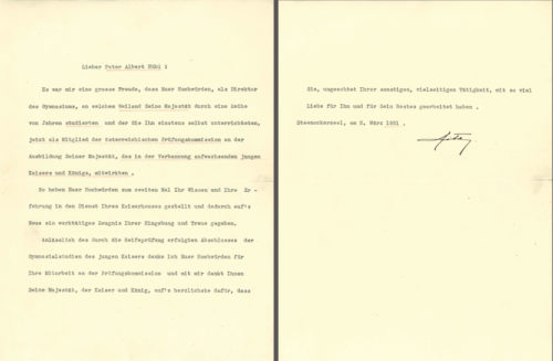 Dankesschreiben der Kaiserin Zita (2. März 1931).