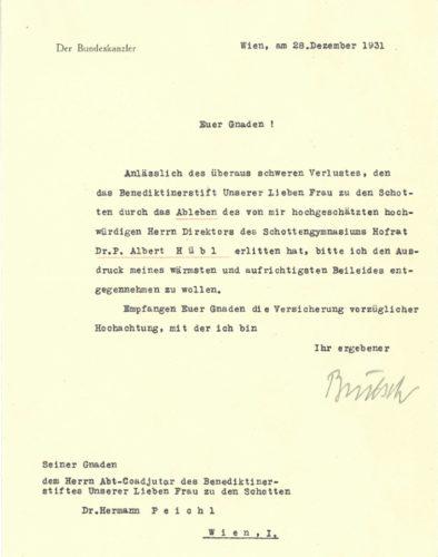 Kondolenzschreiben von Bundeskanzler Karl Buresch an Abt-Koadjutor Hermann Peichl (28. Dezember 1931).