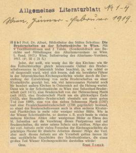 Ernst Tomek: Kurzrezension zu Die Bruderschaften (1919).