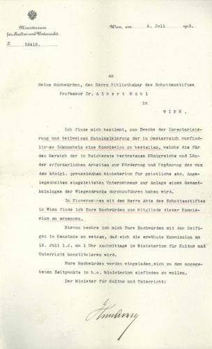 Berufung Albert Hübls in die Inkunabelkommission (6. Juli 1913).