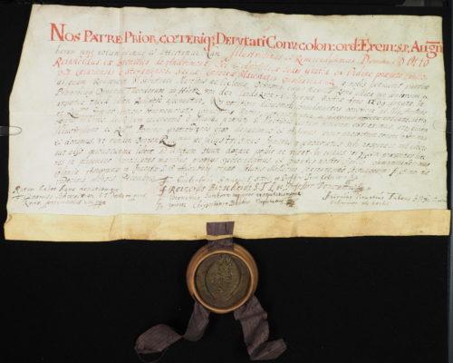 StiA 05.Pfarr Scho 6/01.08.04. Schenkung einer Stockzahnreliquie des hl. Sebastian (1677).