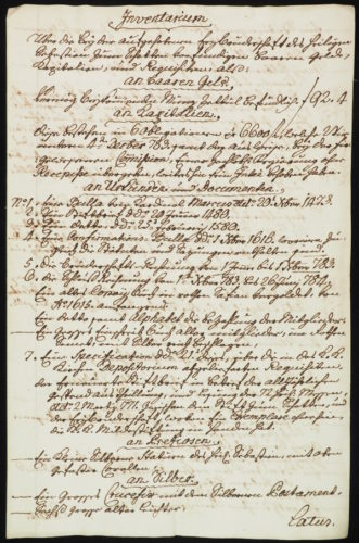 StiA 05.Pfarr Scho 6/01.10.04. Inventar der Sebastiani-Bruderschaft (1784).