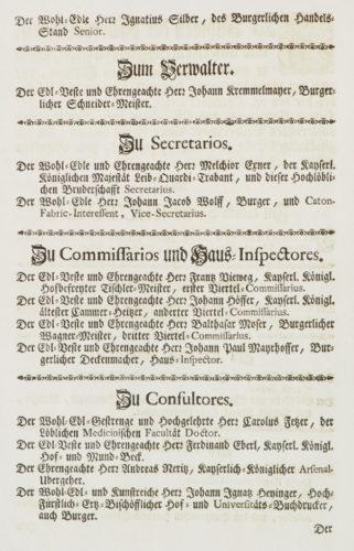 StiA 05.Pfarr Scho 6/03.12. Funktionsträgerliste der Bruderschaft Mariä um ein glückseliges Ende (1747).