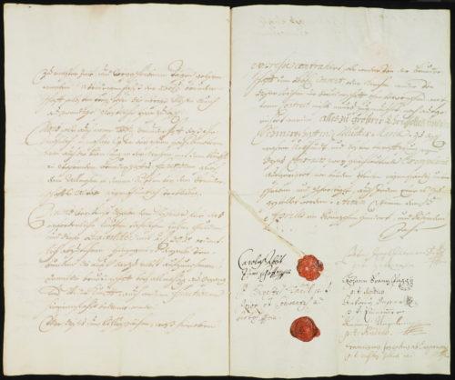 StiA 05.Pfarr Scho 6/06.01. Gründungsvertrag der Bruderschaft von den sieben Schmerzen Mariä (1707).