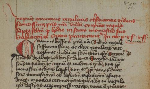 Cod. 300 (Hübl 240), fol. 97r. Caeremoniae regularis observanciae Sublacenses.