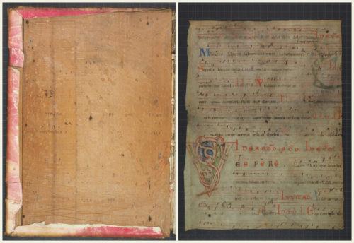Einbanddeckel (Cod. 357 (Hübl 357), VD) und Fragment (Fragm. liturg. 9: Fragment eines Antiphonars mit einem Gesang für Karsamstag).