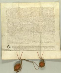 Urk 1418-08-07. Visitationsurkunde Abt Angelus' von Rein und Prior Leonhards von Gaming für das Schottenkloster.