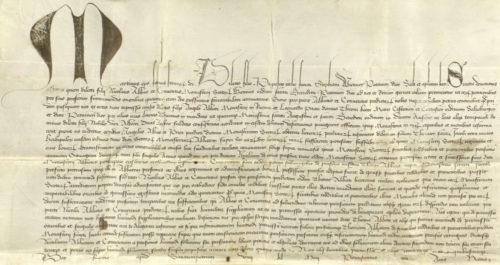 Urk 1425-04-23. Papst Martin V.: Auftrag zur Überprüfung der Pension Abt Thomas'.