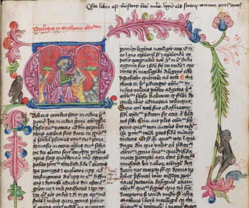 Cod. 100 (Hübl 89), fol. 1r (Ausschnitt): Novum Testamentum (15. Jh.).