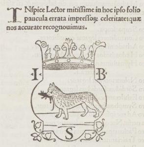 Ink. 323 (Hübl 372), fol. 40v: Domitius Palladius: Epigrammata libelli (Venedig, 1498), Druckersignet des Giovan Battista (de) Sessa.