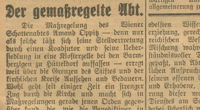 Die Absetzung Abt Amand Oppitz' 1930 im Spiegel der Zeitungsberichterstattung