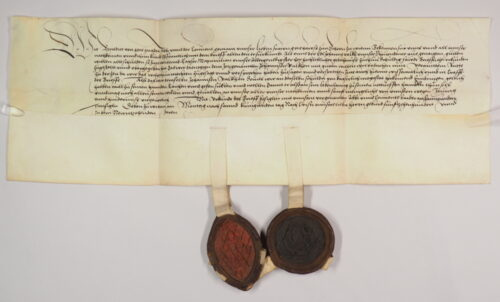 Urk 1519-03-07.2. – Revers des Schottenklosters zur Schenkung des Johann Falkh (7. März 1519). Das spitzovale Siegel des Abtes wurde offenbar nach dem Tod des Schenkers ungültig gemacht.