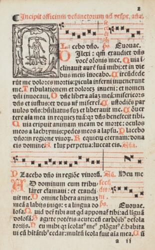 StiB 29.k.58, fol. 2r. Totenvigilien und -offizium des Schottenklosters (Venedig, 1518).