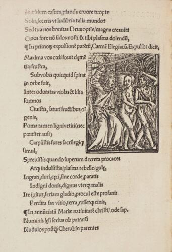 StiB 33.f.3(b), fol.AIv. In primorum expulsionem parentum Carmen Elegiacum des Benedictus Chelidonius. In: Benedictus Chelidonius: Passio Jesu Christi salvatoris mundi (Krakau, 1514).