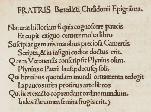 StiB 58.i.20, fol.VIII. Epigramm des Benedictus Chelidonius. In: Johannes Camers: Prima pars Plyniani Indicis (Wien, 1514).