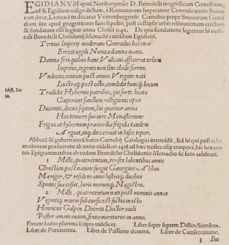 StiB 93.d.25/1, fol.47v. Benedictus Chelidonius: Verse zu Gründung und Äbten des Egidienklosters in Nürnberg. In: Kaspar Brusch: Monasteriorum Germaniae praecipuorum ac maxime illustrium centuria prima (Ingolstadt, 1551).