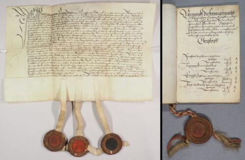 (links) Urk 1520-01-26.1. – Urkunde Wolfgangs von Liechtenstein-Nikolsburg über den Tausch von Grundholden zu Stammersdorf und Gerasdorf mit dem Schottenkloster (26. Jänner 1520). (rechts) Scr. 114 Nr. 14 a). – Grundbuch von Stammersdorf und Gerasdorf (1520).