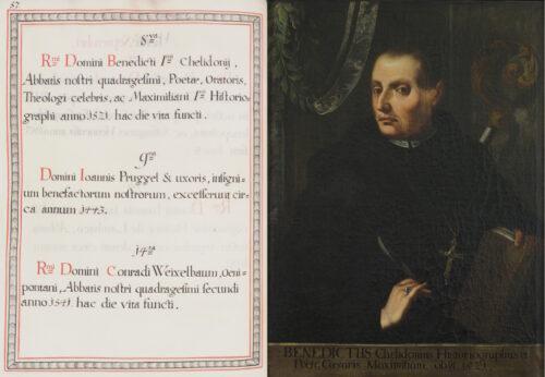 (links) Sterbeeintrag zu Abt Benedictus in einem Jahrtagskalender (1774). (rechts) Porträt von Abt Benedictus in der Äbtegalerie des Schottenstifts (Mitte 18. Jh.).