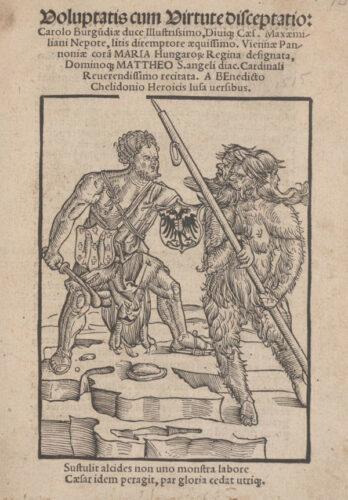 Titelblatt von Benedictus Chelidonius: Voluptatis cum virtute disceptatio (Wien, 1515).