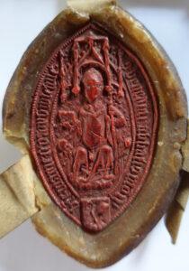Das Siegel des Abtes Benedictus Chelidonius auf einer Urkunde im Diözesanarchiv Wien. DAW, Urk 15190406.