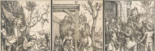 Ausschnitte aus dem Marienleben (links und Mitte) bzw. der Großen Passion (rechts). Albrecht Dürer & Benedictus Chelidonius: Epitome in Divae Parthenices Mariae historiam bzw. Dies.: Passio domini nostri Jesu (beide Nürnberg, 1511).